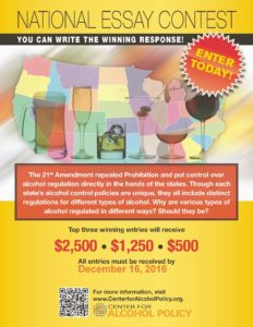 2016 Center for Alcohol Policy Essay Contest Flyer